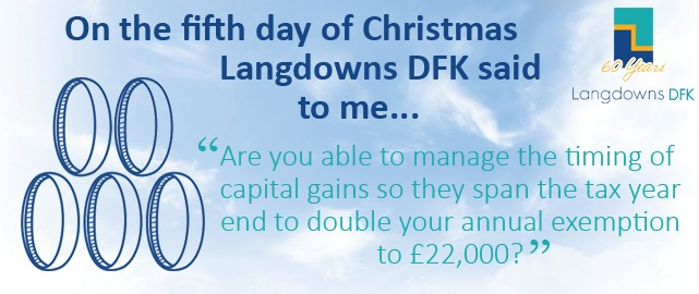 Are you able to manage the timing of capital gains so they span the tax year end to double your annual exemption to £22,000?
